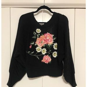 Wildfox Cropped Sweater w/ embroidered back - M